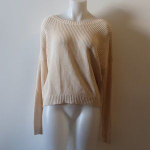 FEEL THE PIECE CREAM BACK LACE-UP SWEATER OS *